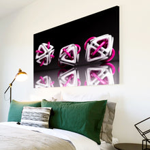 AB001 Framed Canvas Print Colourful Modern Abstract Wall Art - 3D Pink White Black-Canvas Print-WhatsOnYourWall