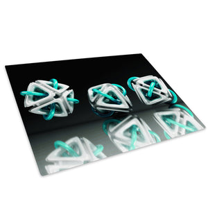 3D Teal Green White Glass Chopping Board Kitchen Worktop Saver Protector - AB002-Abstract Chopping Board-WhatsOnYourWall