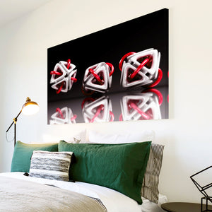AB003 Framed Canvas Print Colourful Modern Abstract Wall Art - 3D Red White Black-Canvas Print-WhatsOnYourWall
