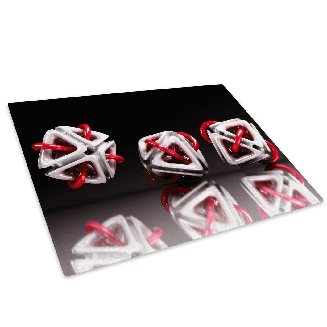 3D Red White Black Glass Chopping Board Kitchen Worktop Saver Protector - AB003-Abstract Chopping Board-WhatsOnYourWall