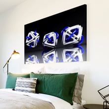AB004 Framed Canvas Print Colourful Modern Abstract Wall Art - 3D Blue White Black-Canvas Print-WhatsOnYourWall