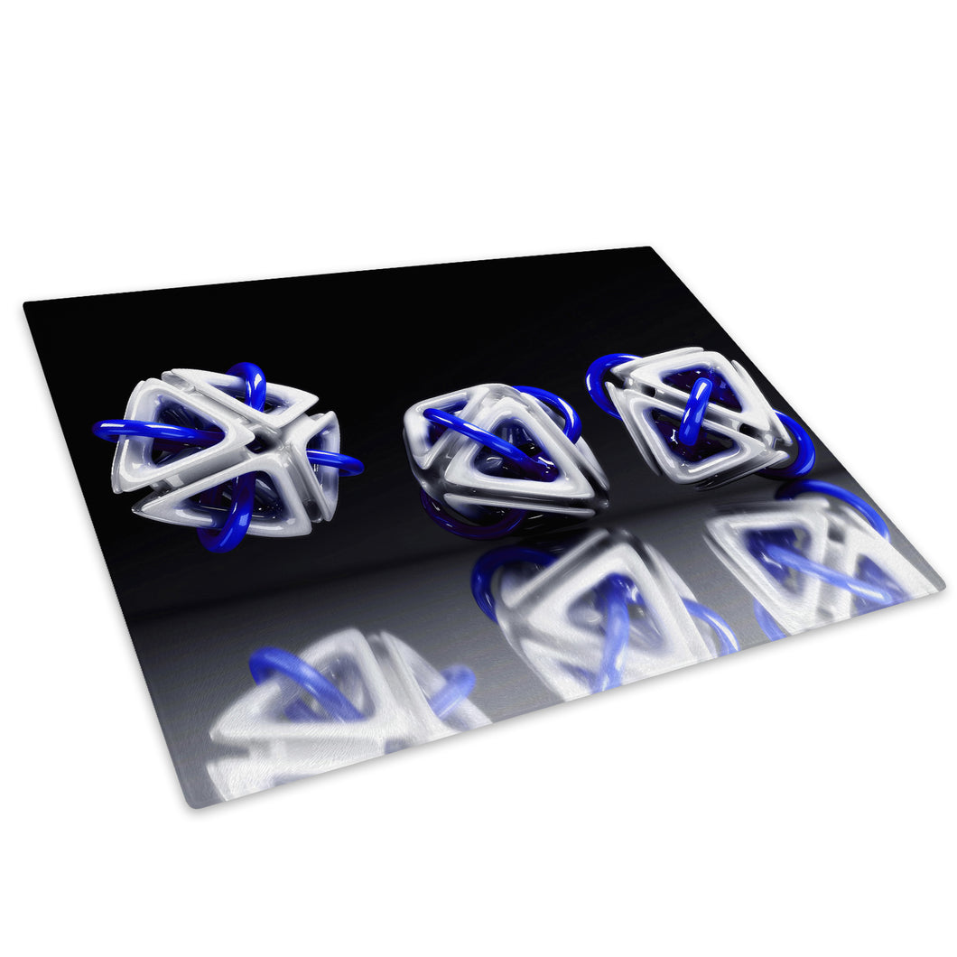 3D Blue White Black Glass Chopping Board Kitchen Worktop Saver Protector - AB004-Abstract Chopping Board-WhatsOnYourWall