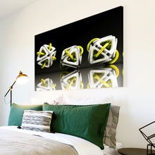 AB005 Framed Canvas Print Colourful Modern Abstract Wall Art - 3D Yellow White Black-Canvas Print-WhatsOnYourWall