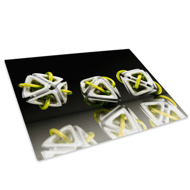 3D Yellow White Black Glass Chopping Board Kitchen Worktop Saver Protector - AB005-Abstract Chopping Board-WhatsOnYourWall