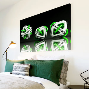 AB006 Framed Canvas Print Colourful Modern Abstract Wall Art - 3D Green White Black-Canvas Print-WhatsOnYourWall