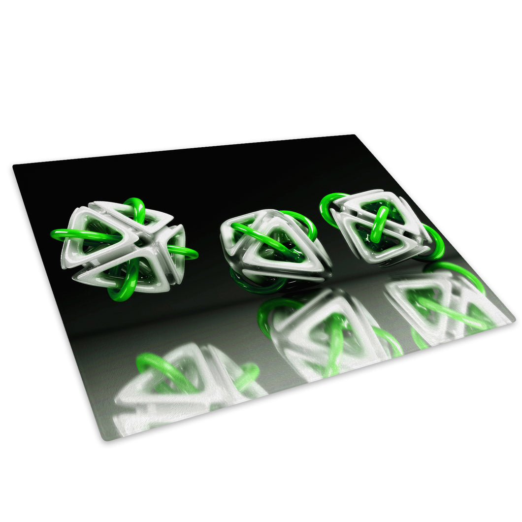 3D Green White Black Glass Chopping Board Kitchen Worktop Saver Protector - AB006-Abstract Chopping Board-WhatsOnYourWall
