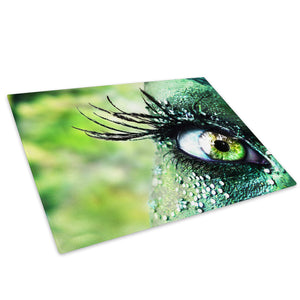 Green Eye Feather Glass Chopping Board Kitchen Worktop Saver Protector - AB007-Abstract Chopping Board-WhatsOnYourWall