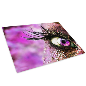 Pink Eye Feather Glass Chopping Board Kitchen Worktop Saver Protector - AB008-Abstract Chopping Board-WhatsOnYourWall