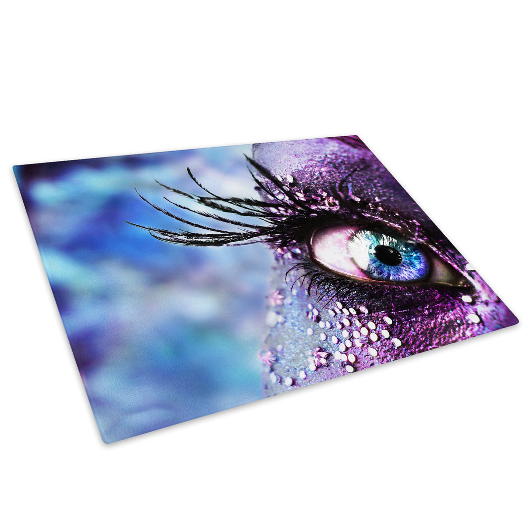 Blue Eye Feather Glass Chopping Board Kitchen Worktop Saver Protector - AB009-Abstract Chopping Board-WhatsOnYourWall