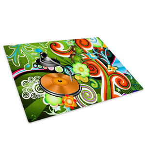 Green Orange Cool Glass Chopping Board Kitchen Worktop Saver Protector - AB011-Abstract Chopping Board-WhatsOnYourWall