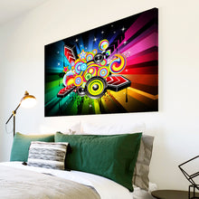 AB012 Framed Canvas Print Colourful Modern Abstract Wall Art - Orange Green Music-Canvas Print-WhatsOnYourWall