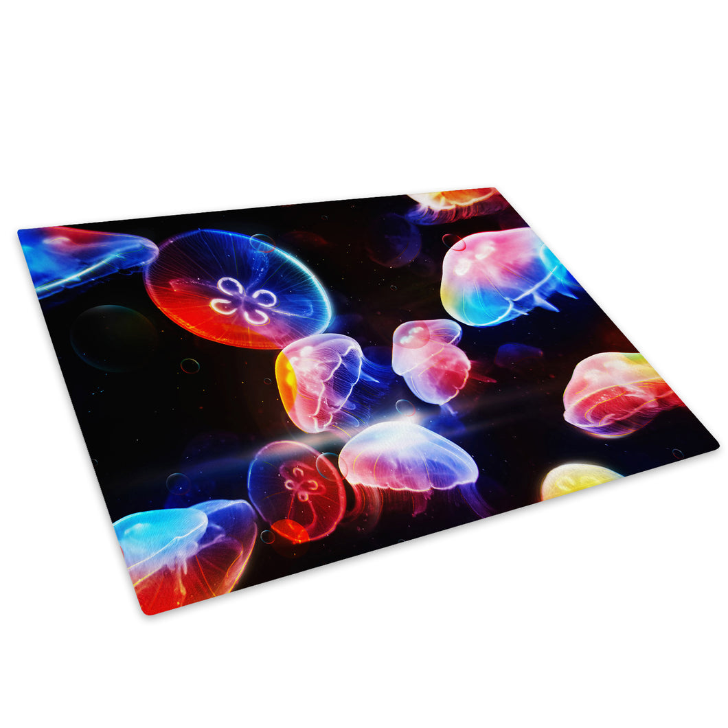 Blue Red 3D Jellyfish Glass Chopping Board Kitchen Worktop Saver Protector - AB013