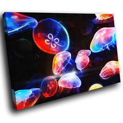 AB013 Framed Canvas Print Colourful Modern Abstract Wall Art - Blue Red 3D Jellyfish-Canvas Print-WhatsOnYourWall