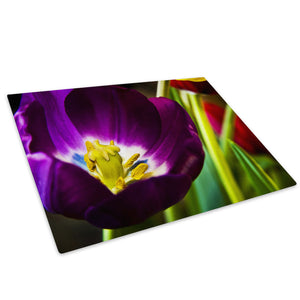Purple Yellow Flower Glass Chopping Board Kitchen Worktop Saver Protector - AB014-Abstract Chopping Board-WhatsOnYourWall