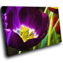 AB014 Framed Canvas Print Colourful Modern Abstract Wall Art - Purple Yellow Flower-Canvas Print-WhatsOnYourWall