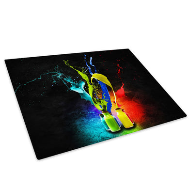 Red Blue Colourful Cool Glass Chopping Board Kitchen Worktop Saver Protector - AB020-Abstract Chopping Board-WhatsOnYourWall