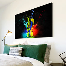AB020 Framed Canvas Print Colourful Modern Abstract Wall Art -  Red Blue Colourful Cool - WhatsOnYourWall