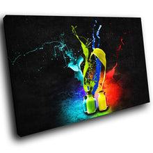 AB020 Framed Canvas Print Colourful Modern Abstract Wall Art -  Red Blue Colourful Cool