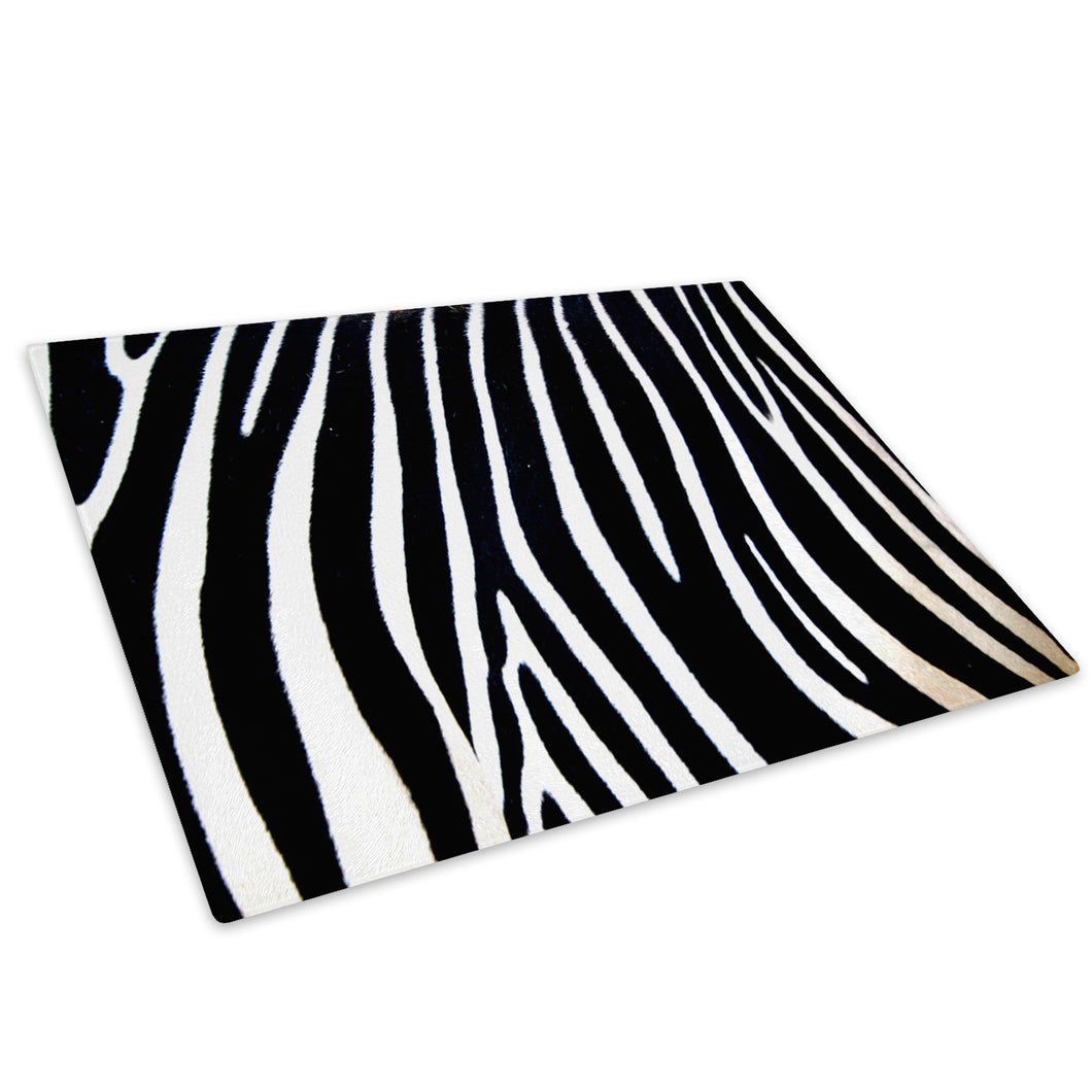 Black White Zebra Stripe Glass Chopping Board Kitchen Worktop Saver Protector - AB023-Abstract Chopping Board-WhatsOnYourWall