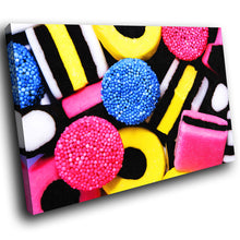 AB024 Framed Canvas Print Colourful Modern Abstract Wall Art -  Black Yellow Pink Sweets