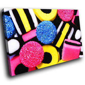 AB024 Framed Canvas Print Colourful Modern Abstract Wall Art - Black Yellow Pink Sweets-Canvas Print-WhatsOnYourWall