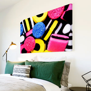 AB024 Framed Canvas Print Colourful Modern Abstract Wall Art -  Black Yellow Pink Sweets - WhatsOnYourWall