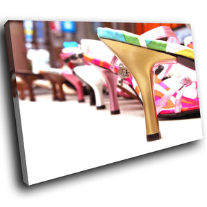 AB025 Framed Canvas Print Colourful Modern Abstract Wall Art - Pink Fashion Shoe-Canvas Print-WhatsOnYourWall