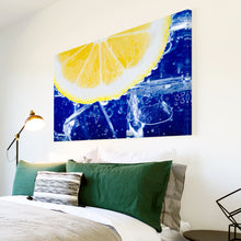 AB026 Framed Canvas Print Colourful Modern Abstract Wall Art - Blue Yellow Lemon-Canvas Print-WhatsOnYourWall