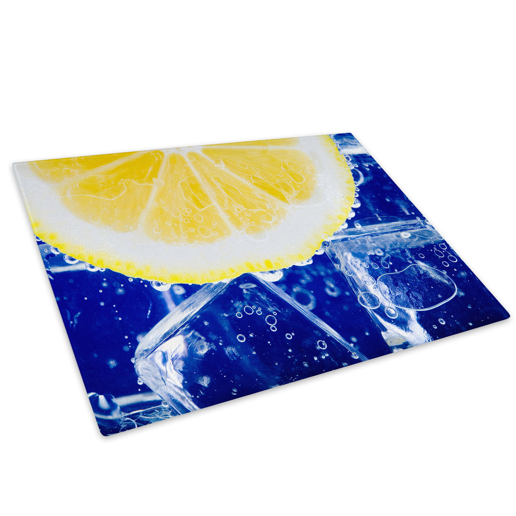Blue Yellow Lemon Glass Chopping Board Kitchen Worktop Saver Protector - AB026-Abstract Chopping Board-WhatsOnYourWall