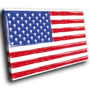 AB027 Framed Canvas Print Colourful Modern Abstract Wall Art -  Red White Blue Usa Flag
