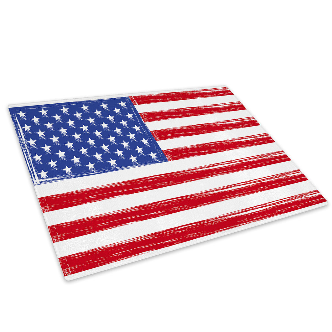 Red White Blue USA Flag Glass Chopping Board Kitchen Worktop Saver Protector - AB027-Abstract Chopping Board-WhatsOnYourWall