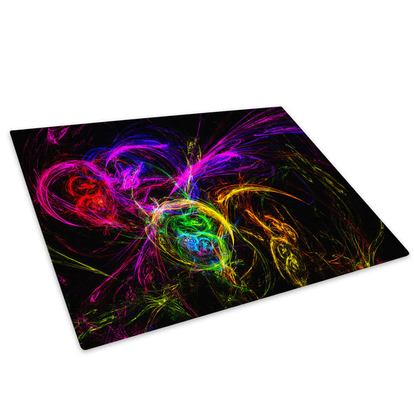 Purple Yellow Colourful Glass Chopping Board Kitchen Worktop Saver Protector - AB029-Abstract Chopping Board-WhatsOnYourWall