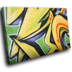 AB031 Framed Canvas Print Colourful Modern Abstract Wall Art - Yellow Graffiti Urban-Canvas Print-WhatsOnYourWall