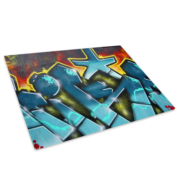 Blue Graffiti Urban Glass Chopping Board Kitchen Worktop Saver Protector - AB032-Abstract Chopping Board-WhatsOnYourWall