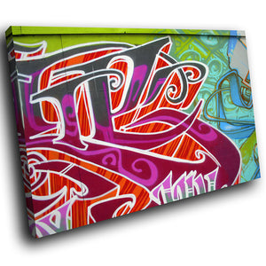 AB033 Framed Canvas Print Colourful Modern Abstract Wall Art - Purple Graffiti Urban-Canvas Print-WhatsOnYourWall