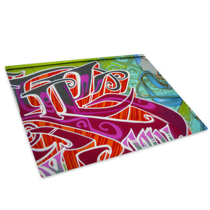 Purple Graffiti Urban Glass Chopping Board Kitchen Worktop Saver Protector - AB033-Abstract Chopping Board-WhatsOnYourWall