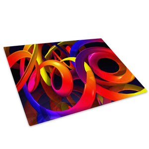 Yellow Red Purple 3D Glass Chopping Board Kitchen Worktop Saver Protector - AB034-Abstract Chopping Board-WhatsOnYourWall