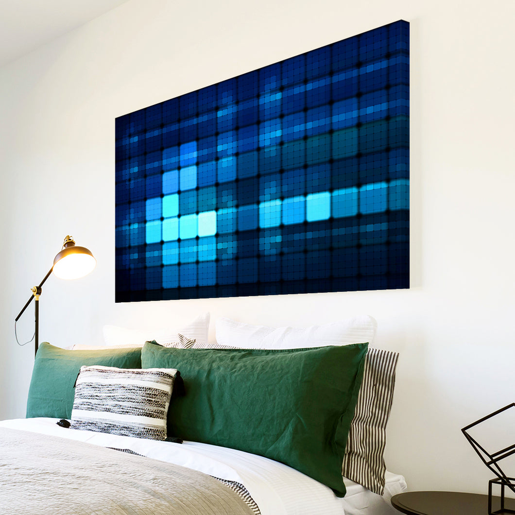 AB037 Framed Canvas Print Colourful Modern Abstract Wall Art - Blue Geometric Squares-Canvas Print-WhatsOnYourWall