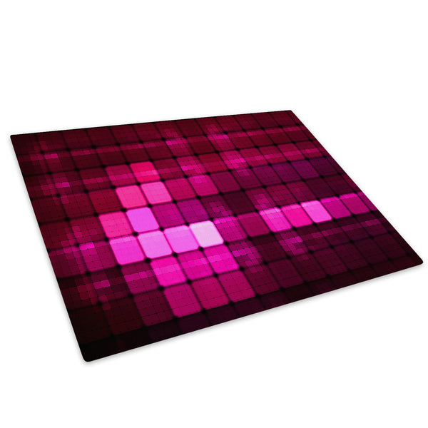 Pink Geometric Squares Glass Chopping Board Kitchen Worktop Saver Protector - AB038-Abstract Chopping Board-WhatsOnYourWall