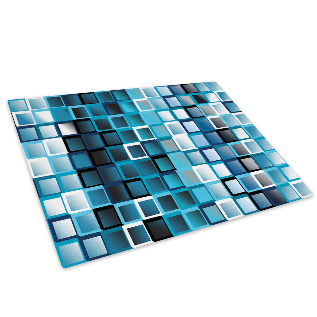 Blue Geometric Squares Glass Chopping Board Kitchen Worktop Saver Protector - AB039-Abstract Chopping Board-WhatsOnYourWall