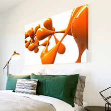 AB040 Framed Canvas Print Colourful Modern Abstract Wall Art - Orange White Splat-Canvas Print-WhatsOnYourWall
