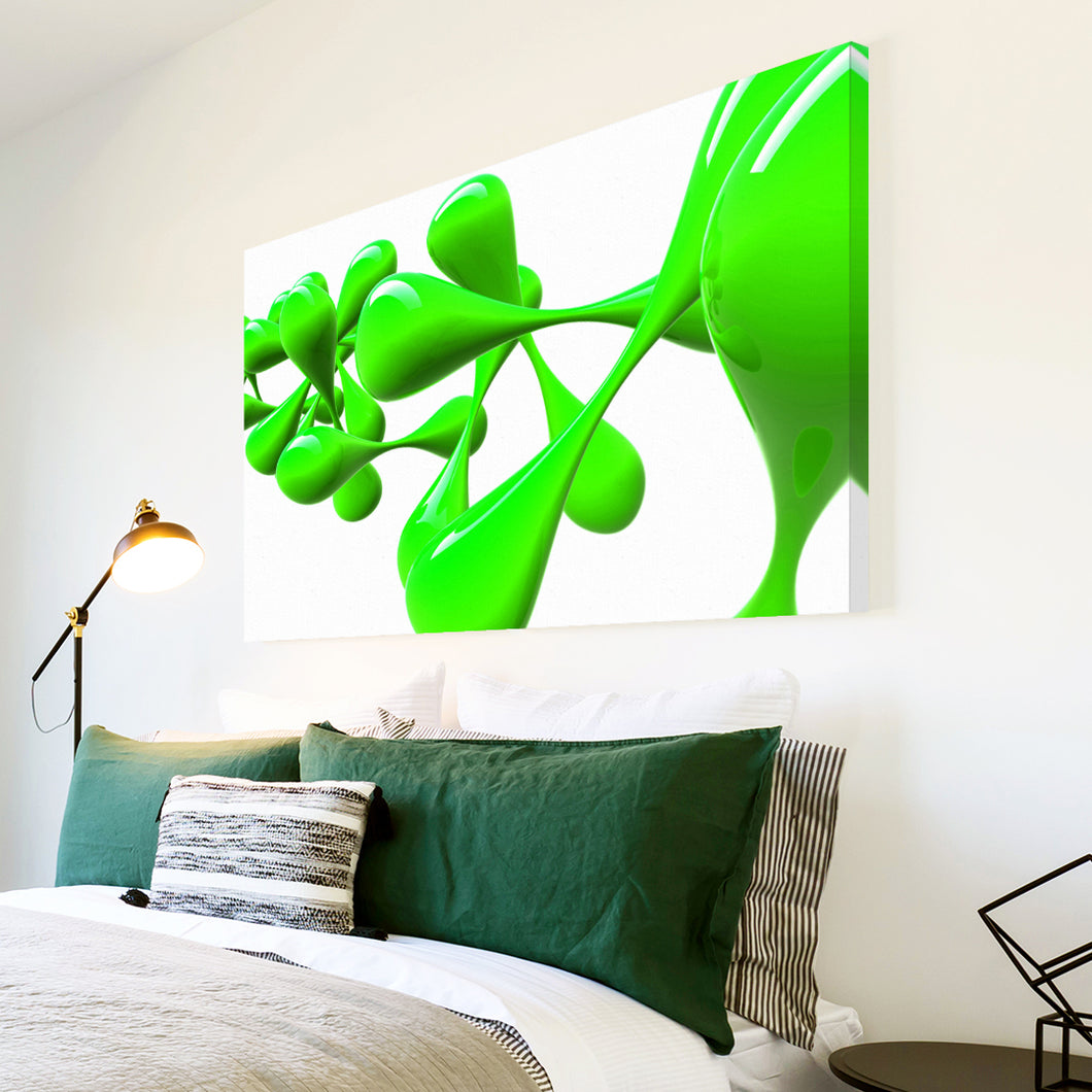 AB042 Framed Canvas Print Colourful Modern Abstract Wall Art - Green White Splat-Canvas Print-WhatsOnYourWall