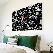 AB044 Framed Canvas Print Colourful Modern Abstract Wall Art -  Black Red Circles
