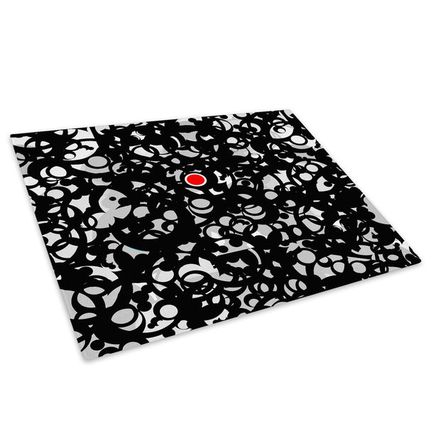 Black Red Circles Glass Chopping Board Kitchen Worktop Saver Protector - AB044-Abstract Chopping Board-WhatsOnYourWall
