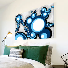 AB045 Framed Canvas Print Colourful Modern Abstract Wall Art -  Blue Pop Cirlces