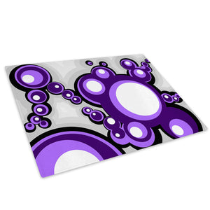 Purple Pop Circles Glass Chopping Board Kitchen Worktop Saver Protector - AB046-Abstract Chopping Board-WhatsOnYourWall