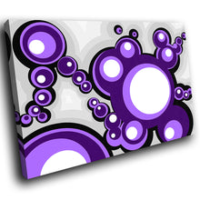 AB046 Framed Canvas Print Colourful Modern Abstract Wall Art -  Purple Pop Circles