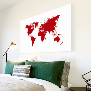 AB047 Framed Canvas Print Colourful Modern Abstract Wall Art - Red World Map Cool-Canvas Print-WhatsOnYourWall