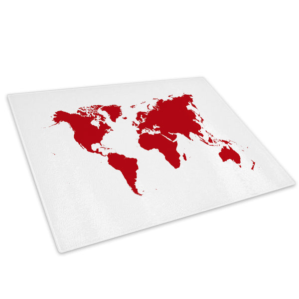 Red World Map Cool Glass Chopping Board Kitchen Worktop Saver Protector - AB047-Abstract Chopping Board-WhatsOnYourWall