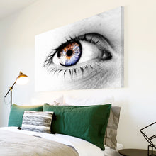 AB048 Framed Canvas Print Colourful Modern Abstract Wall Art - Blue Black White Eye-Canvas Print-WhatsOnYourWall